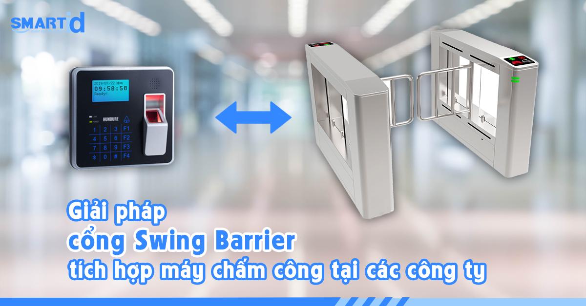 Swing barrier tích hợp chấm công cho văn phòng doanh nghiệp